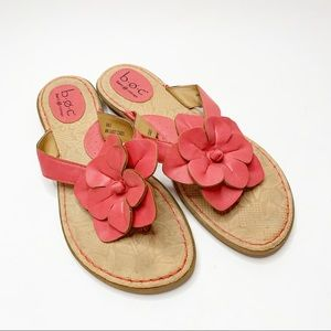 B.o.c. Pink Leather Flower Sandals Size 9